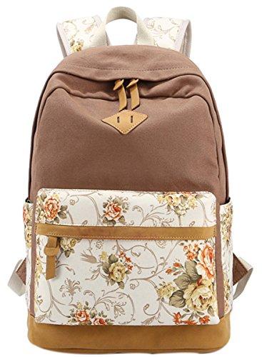 Panegy Damen Mädchen Mode Design Rucksack Bulemendruck-Art Canvas Reisen Rucksack Schulrucksack für Schüler Freizeit Outdoor Sport Backpack - Khaki