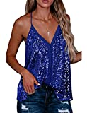 CuteRose Womens Lace Sequin Tank Spaghetti Strap Relaxed Fit Tops Blue XL