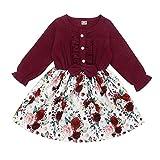 DaMohony Robe pour nouveau-né, avec manches longues et motif floral - Rouge - 120 cm(3-4 ans)