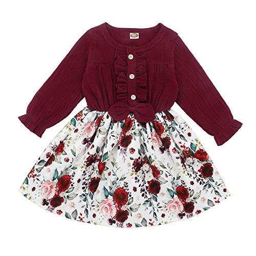 DaMohony Langarm-Kleid für Baby / Mädchen, Rockmuster: Floral, Party-Prinzessin-Kleider Gr. 120 cm(3-4 Jahre), weinrot