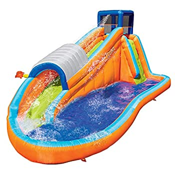 Banzai Surf Rider Kids Inflatable Outdoor Backyard Aqua Water Slide Splash Park with Climbing Wall Tunnel Slide and Lagoon Splash Pool for Ages 5-12