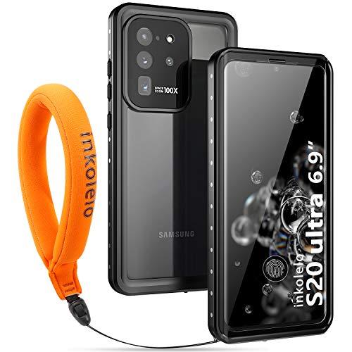 Wasserdichte Hülle für Galaxy S20 Ultra Schutzhülle Ganzkörper Unterwasser Wasserdicht IP68 Wasserschutzhülle mit Schwimmender Schlüsselband für Samsung Galaxy S20 Ultra 6.9inch (Mattschwarz/Orange)