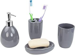 Home Basics 4-Piece Bathroom Accessory Set, Includes Soap/Lotion Dispenser, Toothbrush and Toothpaste Holder, Soap Dish, and Tumbler, Grey