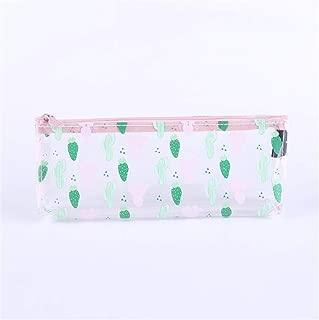 Female Transparent Pencil Bag Exam Students Simple Fresh Creative Cute Pencil Case,Cactus