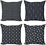 Geometric Throw Pillow Cushion Case Pack of 4, Monotone Background with Triangle Theme Abstract Design Outline, Modern Accent Digital Printing, Charcoal Grey