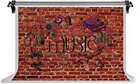 HD7x5ft赤レンガの壁綿の背景落書き音楽シンボルピアノ写真の背景ファッションコンサートのテーマパーティーYouTubeフォトビデオブース小道具LYFS186