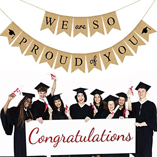 We are So Proud of You Banner, Graduation Burlap Banner, Great for Graduation Party