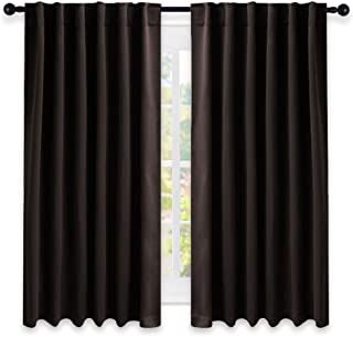 NICETOWN Blackout Curtains for Small Windows - (Toffee Brown Color) 52 inches x 63 Inch, 2 Pieces Set, Blackout Curtain/Drape Panels for Theater
