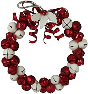 Gisela Graham Wreath with Red and White Jingle Bells 27cm