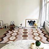 Cuadros Blancos Alfombra Oficina La impresión geométrica Creativa marrón es Comprar para alfombras de Pila Corta en la Sala de Estar, Dormitorio y Cocina.-Color de café $_200x280cm 200X280CM Alfombra