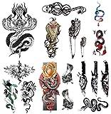 YAKAGO 12Pcs Dagger Snake Temporary Tattoos For Men Boys Women Girls