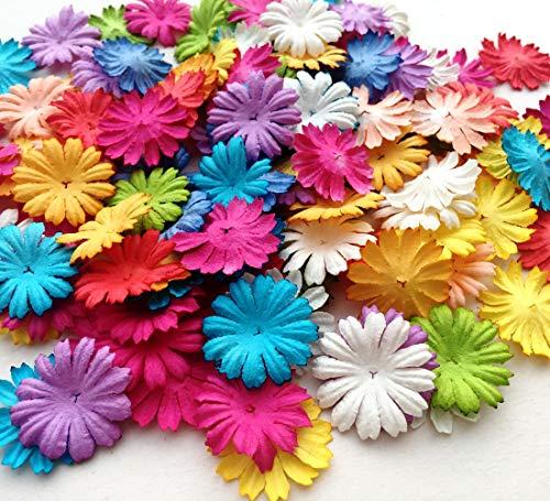 icrafy 100sortiert Daisy Flower Mulberry Papier, Regenbogen Farbe, die cut 100PCS. Größe 2,5cm (Rainbow Ton)