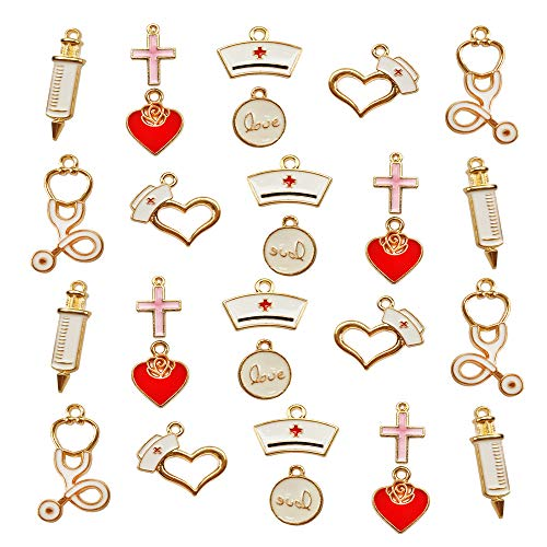 28 Pcs Gold Plated Enamel Medical Nurse Stethoscope Charms Enamel Metal Pendant Craft Findings Bracelets Charms for Jewelry Making Accessories