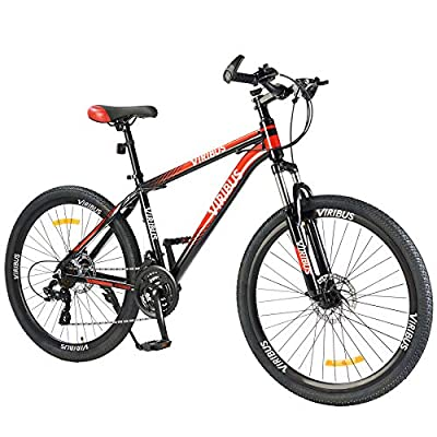 Men's Mountain Bike Hardtail with 26 Inch Wheels, Lightweight Aluminum Frame MTB Bicycle with Dual Disc Brakes, Adult Bike for Men with 100mm Travel Front Suspension Fork (Red, 24 Speed)