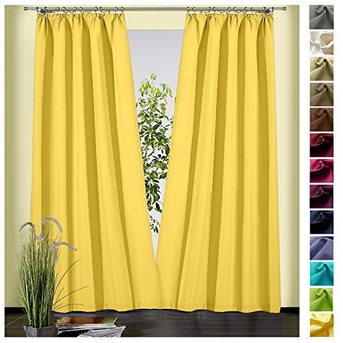 heimtexland ® Dekoschal Baumwolle Uni Blickdicht Vorhang Kräuselband Gardine Gelb HxB 245x135 Typ625