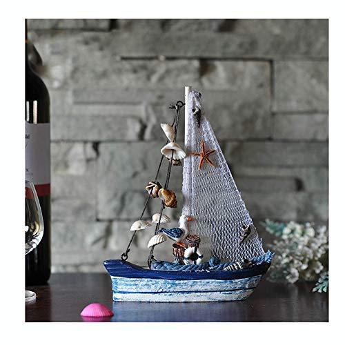 Guve Modello di Barca a Vela in Legno Starfish - Set di Decorazioni per la casa di Barche a Vela, Rete da Pesca Nautica,(L*W*H) 16 * 3.5 * 20cm