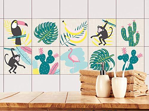 Tegelstickers keuken banana bladeren, tegelfolie modern design, tegels plakken palmbladeren 15x15cm Set 30 Stück