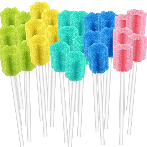 250 Count Unflavored Disposable Oral Swabs, Tooth Shape for Oral Cavity Cleaning Sponge Swab Individually Wrapped