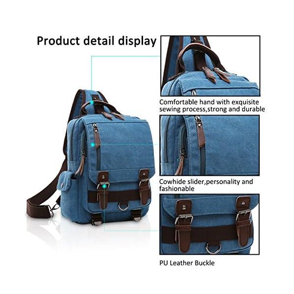 51xrzs1NpIL. SS600  - FANDARE New Hombres Sling Bag Business Commuter Estudiante Gym Outdoor Viaje Bolso de Hombro Transpirable Lienzo Azul A