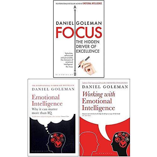 Daniel Goleman Collection 3 Books Set (Focus, Emotional Intelligence, Working with Emotional Intelligence)