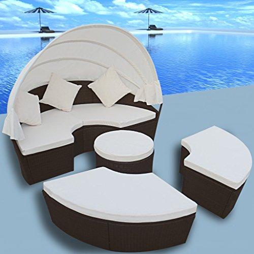 Anself Sonneninsel Liegeinsel 2 in1 Polyrattan Sonnenliege mit Sonnendach und Kissen Rund*