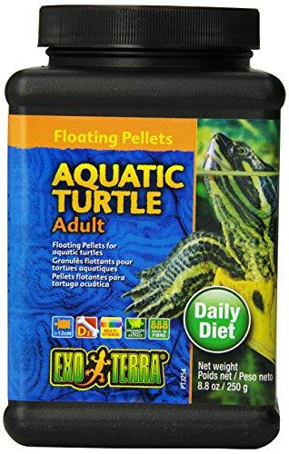 Exo Terra Adult Aquatic Turtle Food, Floating Pellets for Reptiles, 8.8 Oz., PT3254