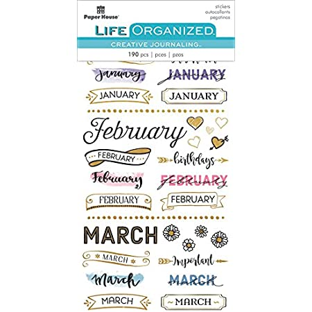 Paper House Productions STPL-1000 Monthly Creative Journaling Stickers, 3-pack, 3 Piece