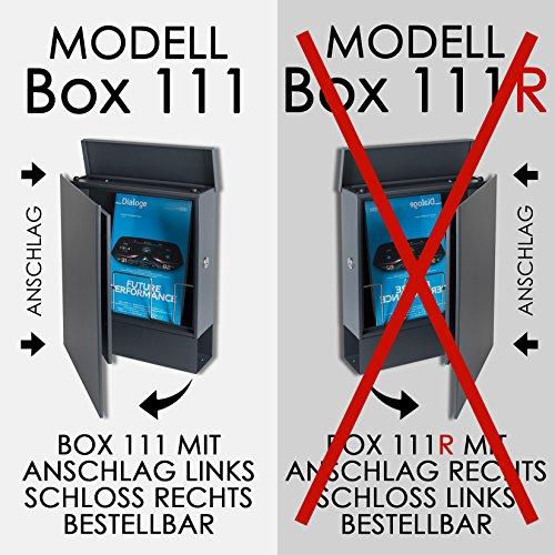 MOCAVI Box 111 Design-Briefkasten mit Zeitungsfach anthrazit-grau (RAL 7016) Wandbriefkasten, Schloss rechts, groß, Aufputzbriefkasten dunkelgrau, Postkasten anthrazitgrau modern mit Zeitungsrolle - 7