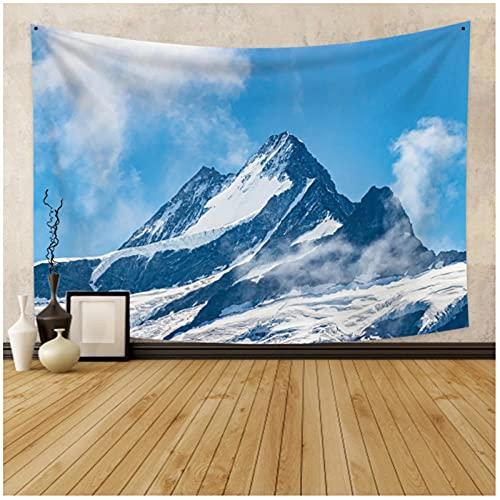 Tapiz by BD-Boombdl Paisaje natural nórdico hermosa nieve montaña decoración alfombra Yoga Mat Fondo decoración del hogar 59.05'x39.37'Inch(150x100 Cm)