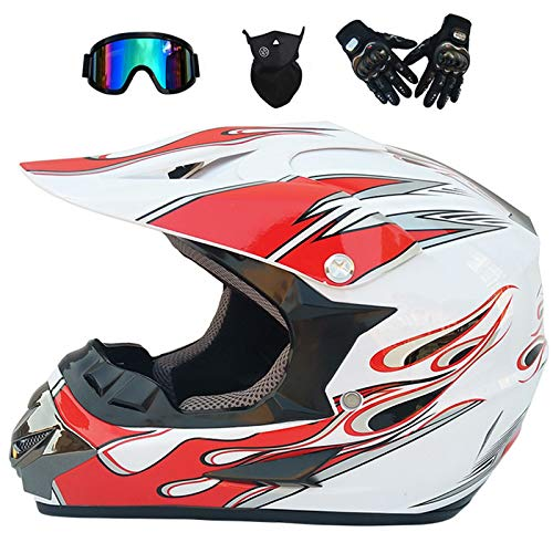 Motorradhelm,Motocross Helm für Kinder Adult MX Offroad Helm MTB BMX Cross-Bike Downhill Off-Road Enduro-Helm mit Handschuhe Maske Brille Motorrad Helm Cross-Helm für Männer Damen - Weiß,S