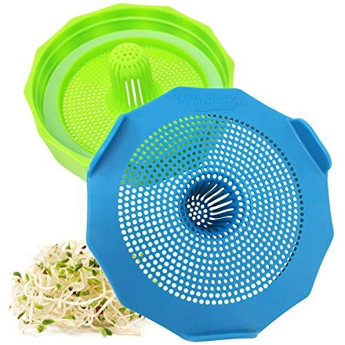 Masontops germoir pour graines - Couvercles de germination - 2 PK - Couvercle de bocal en verre large orifice pour germination - Toutes tailles de graines - plastique sans BPA