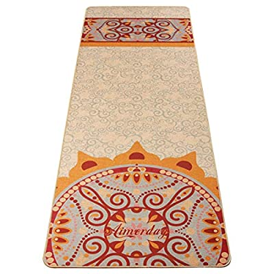 AIMERDAY Jute Yoga Mat 5mm Thick Non Slip Eco-Friendly 72 inch Extra Long Natural Organic Rubber Exercise & Fitness Floor Mats with Free Carry Strap for Pilates, Hot Yoga, Bikram, Workout
