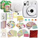 PS FUJIFILM INSTAX Mini 11 Instant Film Camera (Ice White) with 168 Piece Accessory Bundle x3 FUJIFILM INSTAX Mini Instant Film (20 Exposures) Camera Case with Strap, Selfie Lens and a Whole Lot More