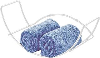 mDesign Toallero de pared para baño – Balda para baño de metal – Estantería metálica de fácil colocación – Ideal para toallas y otros accesorios de baño – blanco