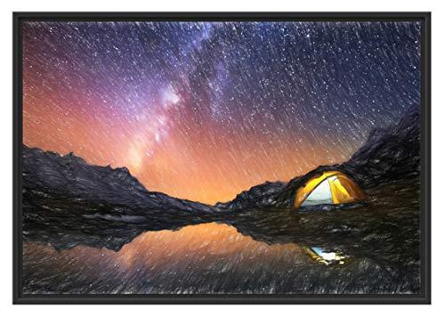 Picati Zelten unter tausenden Sternen im Schattenfugen Bilderrahmen | Format: 100x70 | Kunstdruck auf hochwertigem Galeriekarton | hochwertige Leinwandbild Alternative