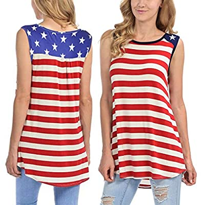 Leewos Hot Sale! 2019 Fashion!Women Summer Casual Tank American Flag Printed Sleeveless Camisole Tunic Vest Red by Leewos Hot Sale!