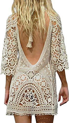 Damen Strandkleider Boho Spitze Fit Loose Bikini Cover Up Kleider Strandponcho Sommerkleider (Weiß)