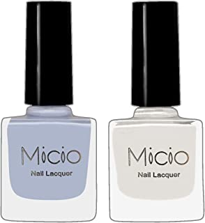 Micio Nail Lacquer Combo of 2 Fancy Colors (Angel White & Arctic) Nail Polish (Colors-set 1)