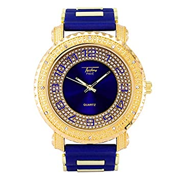 Mens Hip Hop Inspired Analog Iced Out Gold Watch 52mm Case Size with Silicone Band Strap and Stainless Steel Back - Quartz Movement
