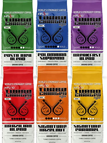 Variety Pack - (6) 8oz Bags - Ground Coffee - InfuSio Turbo Charged Coffee - Brazil/Costa Rica/Colombia/Breakfast/Hazelnut/Caramel