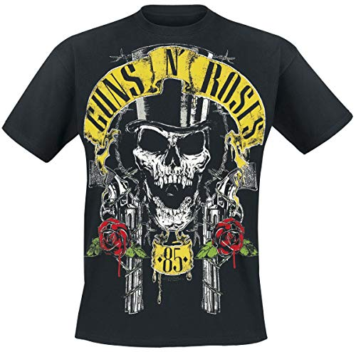 Guns N Roses Top Hat Männer T-Shirt schwarz M 100% Baumwolle Band-Merch, Bands