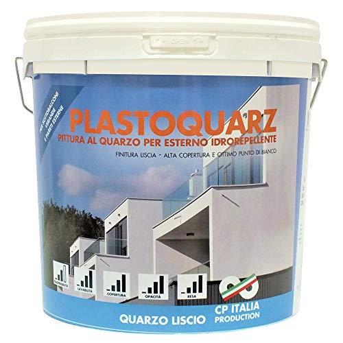 Salone Negozio Online Vernice Pittura Lavabile al Quarzo Liscio ACRILICA per Esterni da LT.14 Bianco