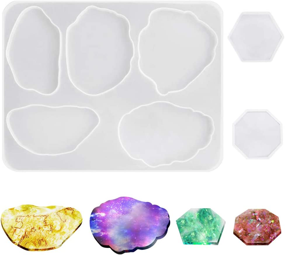 Silicone Coaster Molds for Resin Directly managed store Casting AIFUDA All items free shipping Epo Agate Pcs 3