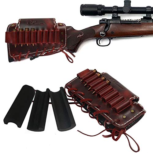Leather Rifle Gun Buttstock Ammo Holder with Cheek Rest Pad, Cartridge Shell Holder, 4 Colors (Red)