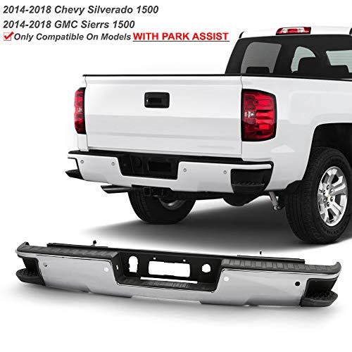 ACANII - For 2014-2018 Chevy Silverado/GMC Sierra 1500 Chrome Rear Step Bumper w/Sensor Holes and Corner Hold Assembly