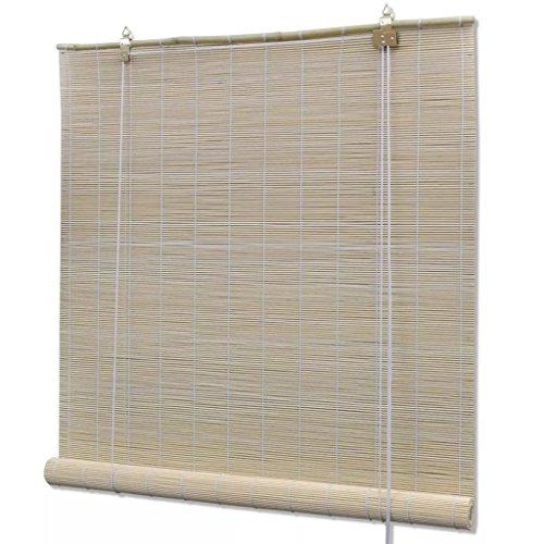 Persiana Enrollable de Bambú para Interiores, Cortina de Madera, Estor Enrollable para Ventana de Vestidor, Natural, tamaño: 100 x 160 cm