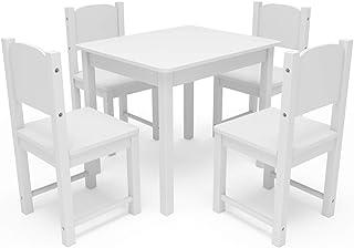 مجموعة طاولات و4 كراسي خشبية للأطفال من تيمي بيبي، أثاث للأطفال، غرفة لعب طاولة الأطفال للأكل والقراءة واللعب باللون الأبيض