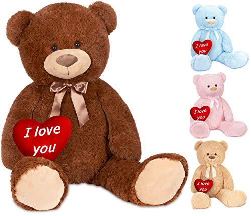 Brubaker Orsacchiotto XXL 100 cm Marrone con Un I Love You Cuore - Orso Orsetto Morbido Gigante