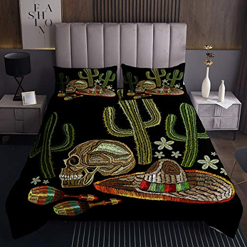 Skull Print Quilted Coverlet Cactus Hat Bowling Ball Bedspread Queen Black Microfiber Winter Bedroom Coverlet Sets 3 Pieces(1 Coverlet Set with 2 Pillow Shams)