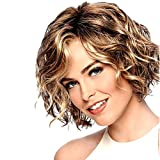 TopWigy Short Curly Blonde Wigs for White Women Highlight Ombre Mixed Brown Blonde Wig Capless Synthetic Hair Wig for Daily Party (Blonde Mixed Brown)